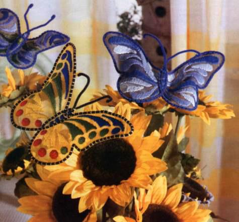 вышивка гладью бабочки