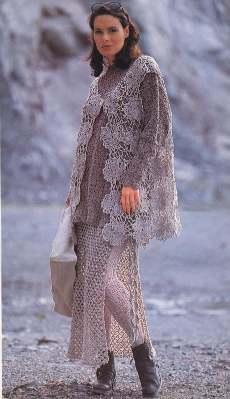 Пуловер, жилет, юбка с запахом